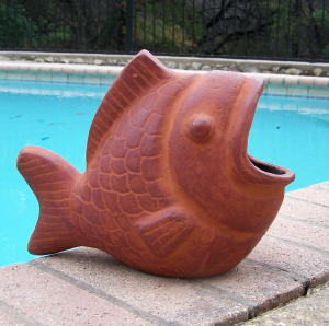 Mexican Clay Pottery Koi Fish Planter By Arpero